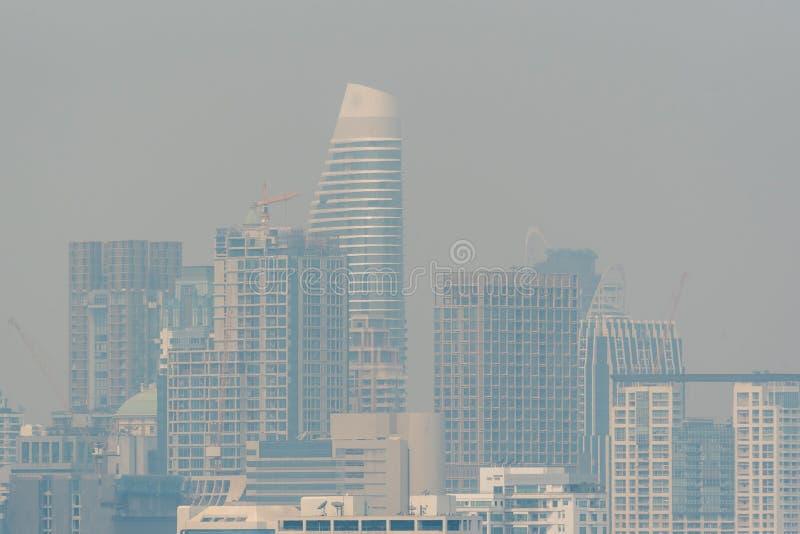 Smog PM2 damm 5 att överskrida standart värde av Bangkok royaltyfri bild