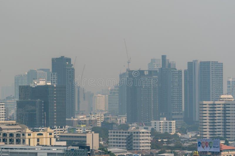 Smog PM2 stof 5 overschrijdt standaardwaarde van Bangkok royalty-vrije stock foto's