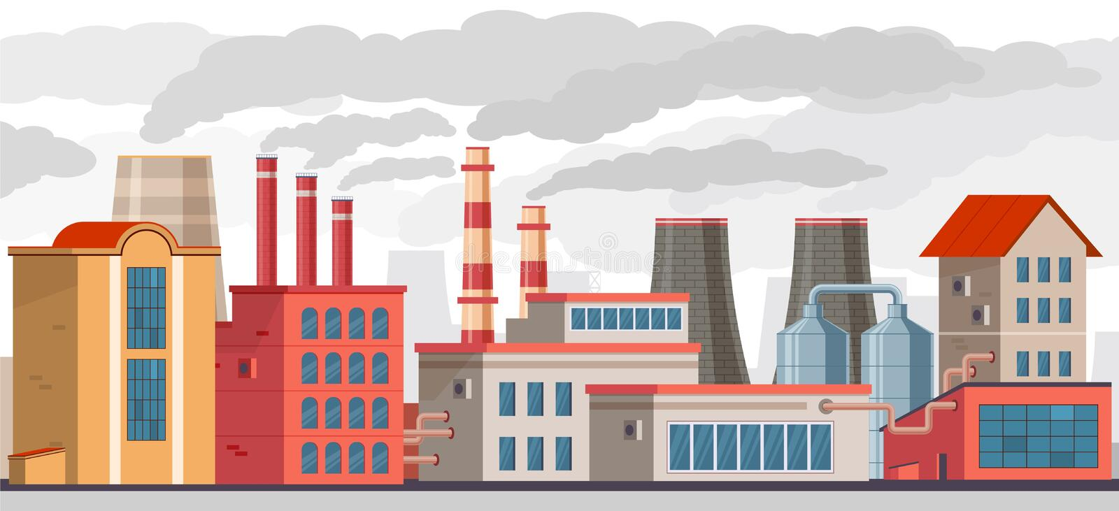 Smog pollution. Industrial factory with pipes pollutes environment with toxic smoke. Smog and chemical waste in ecology vector illustration