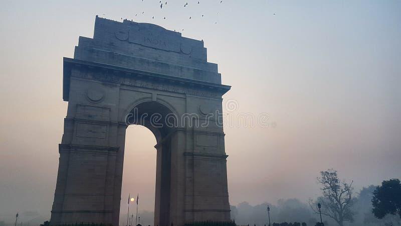 Smog przy ind bramą, nowi Delhi ind obraz stock