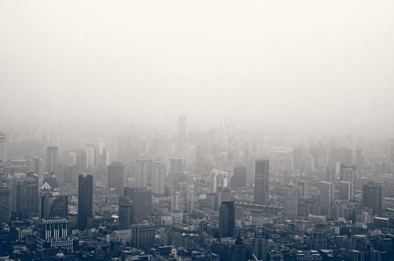 Smog in Shanghai royalty free stock photos