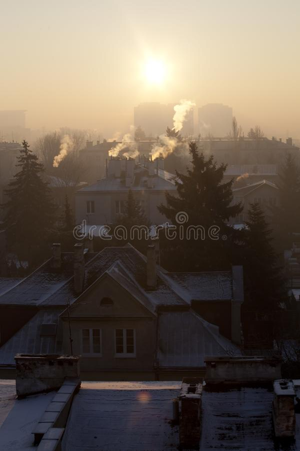 Smog in winter time in Warsaw, Poland stock image