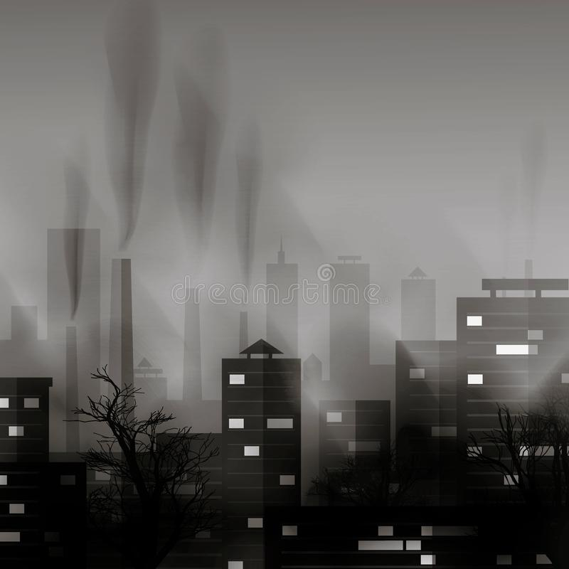 Smog zanieczyszczający miastowy krajobraz Wysoce zanieczyszczający miasto z fabrycznych rośliien dymić góruje i drymby ilustracji