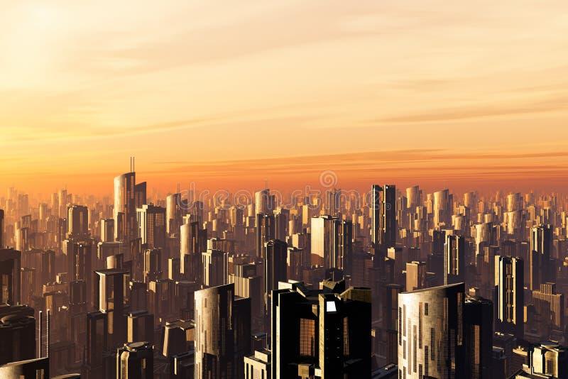 Smoggy Metropolis 3D render. Metropolis Sunset 3D render, smog, skyscrapers royalty free illustration