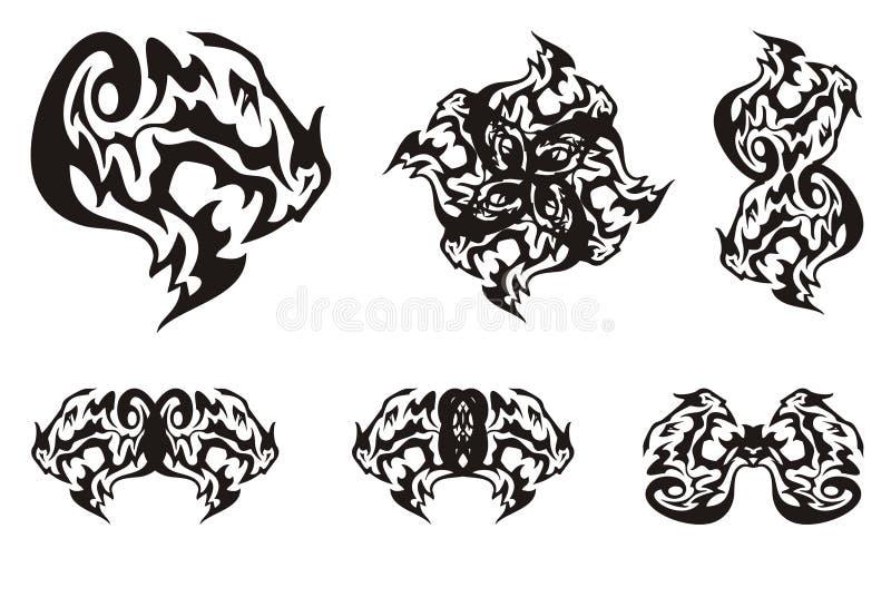 Smoków kierowniczy symbole w plemiennym stylu royalty ilustracja