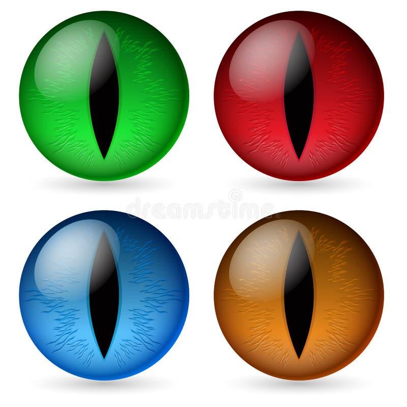 smoków kolorowi oczy ilustracja wektor