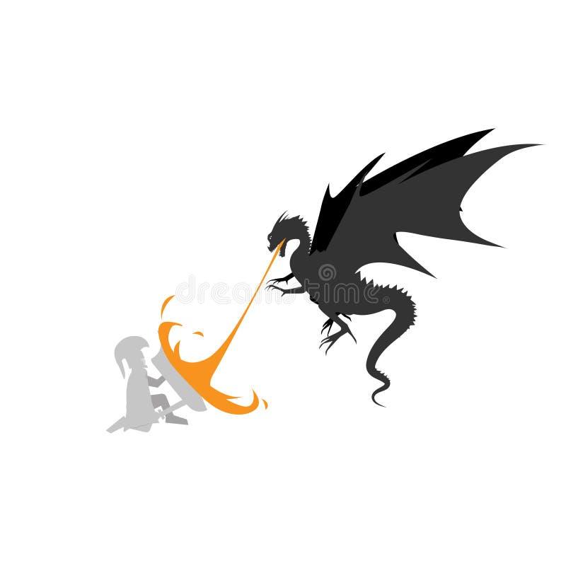 Smoków pożarniczy potwory z rycerza templariusza projektem ilustracja wektor