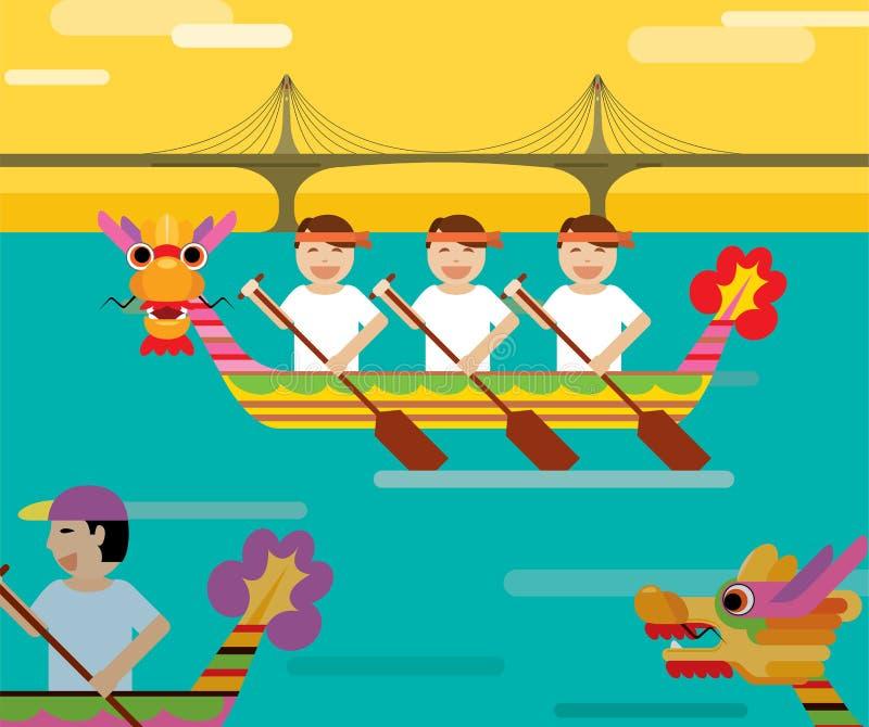 Smok łódź za mostem w płaskim projekta stylu ilustracja wektor