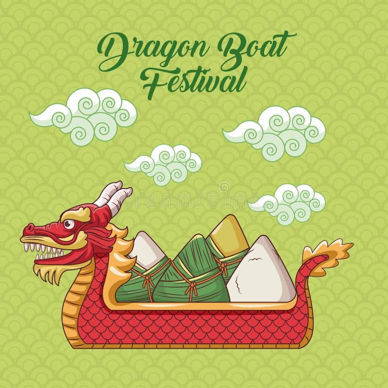 Smok łodzi festiwalu kreskówki projekt royalty ilustracja