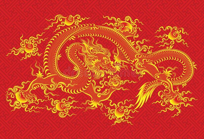 smok chińska czerwień royalty ilustracja