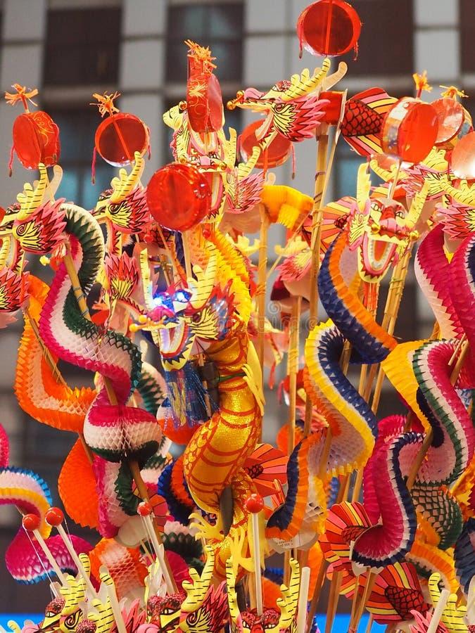 Smok Chuchający zabawkarskiej dekoracji nowego roku Chiński festiwal obrazy royalty free