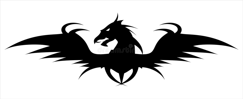 Smok głowa Smok ikona oskrzydlony czarny smok royalty ilustracja