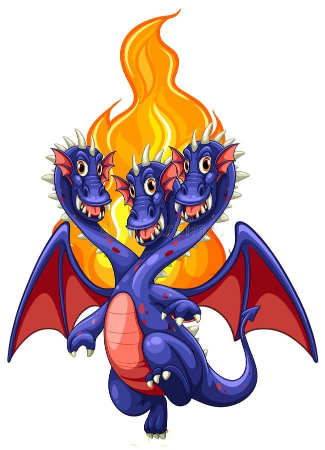 Smok i płomienie ilustracji