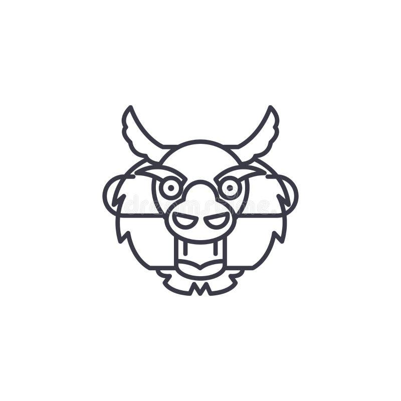 Smok ikony kierowniczy liniowy pojęcie Smok kierowniczej linii wektoru znak, symbol, ilustracja ilustracji