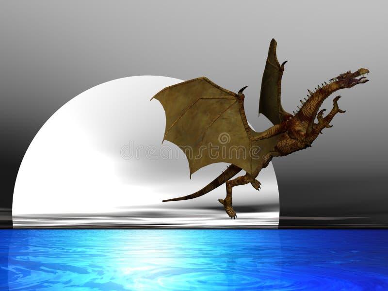 smok na księżyc ilustracja wektor