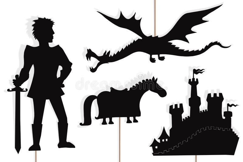 Smok, rycerz, kasztel i końskie cień kukły, ilustracja wektor