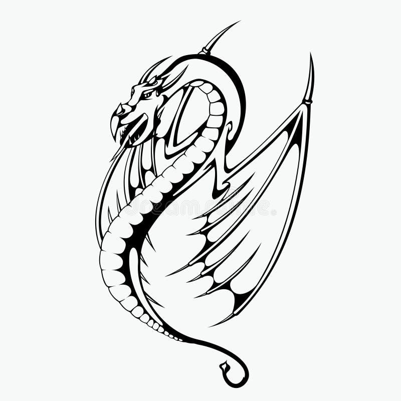 Smok wektorowa ilustracja dla tatuażu projekta royalty ilustracja