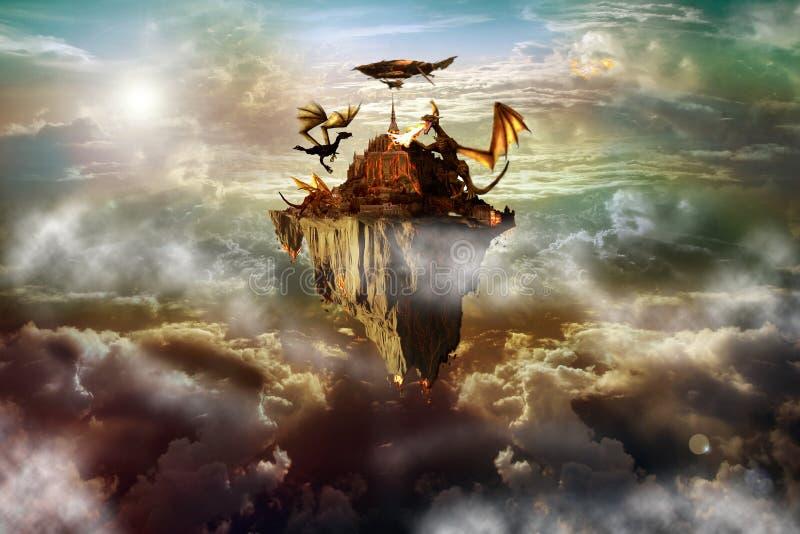 smok wyspa ilustracji
