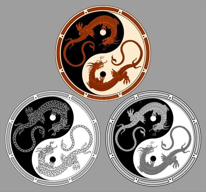 Smok yin Yang ilustracji