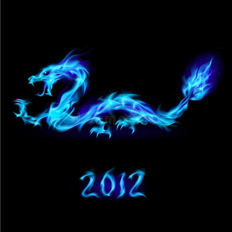 smoka błękitny ogień ilustracja wektor
