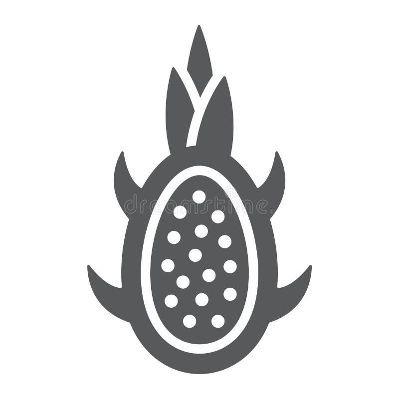 Smoka glifu owocowa ikona, owoc i jedzenie znak, tropikalny, egzotyczny, wektorowe grafika, bryła wzór na białym tle ilustracji