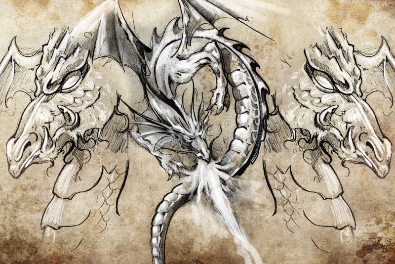 Smoka lizzard, tatuażu nakreślenie ilustracja wektor