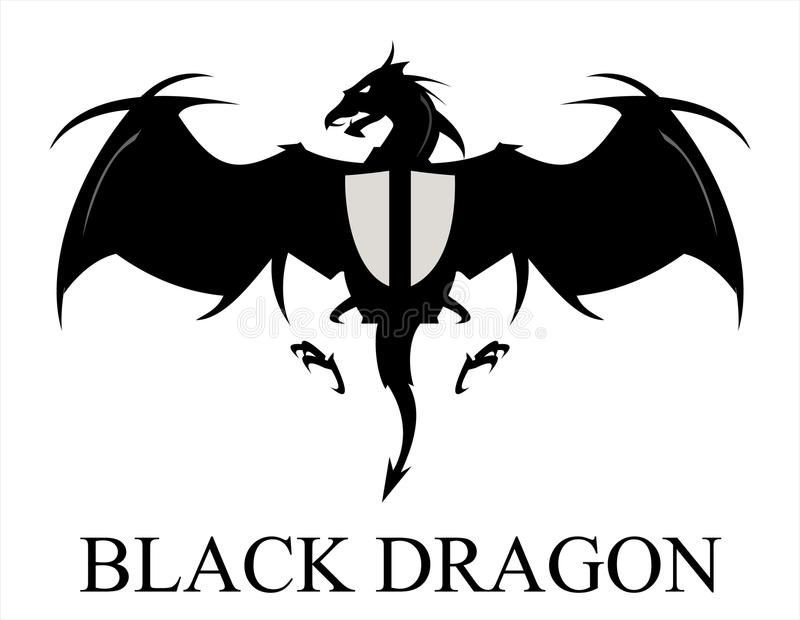 Smoka logo Smok Czarny smok rozprzestrzenia swój skrzydła royalty ilustracja
