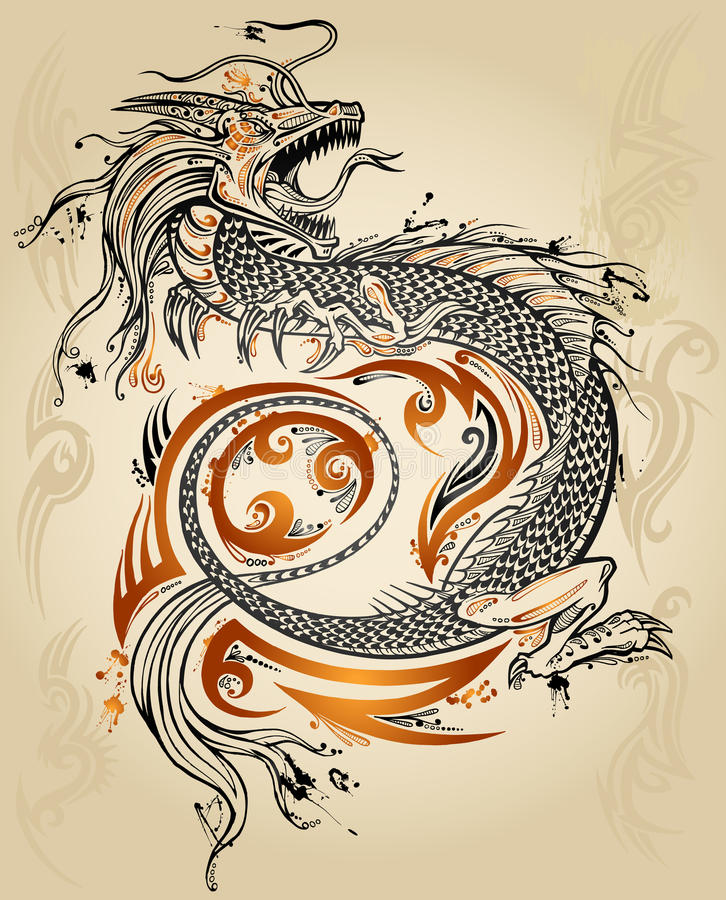 smoka nakreślenia tatuażu plemienny wektor ilustracji