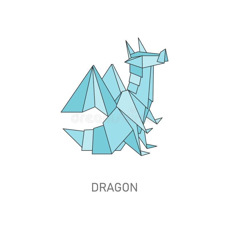 Smoka origami postać w geometrycznym płaskim konturu stylu ilustracji