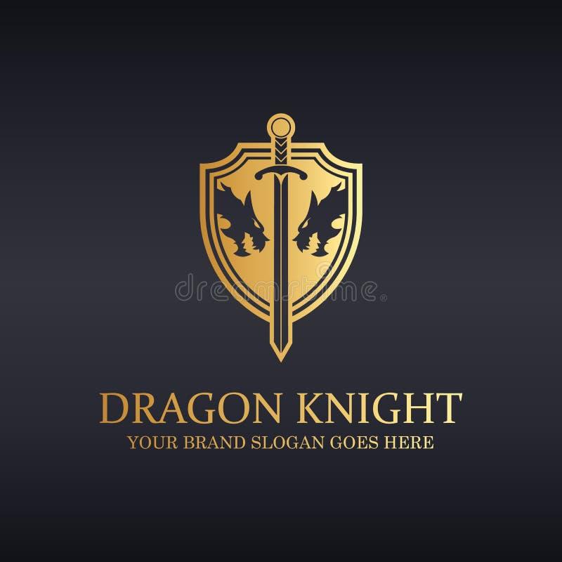 Smoka rycerza logo royalty ilustracja