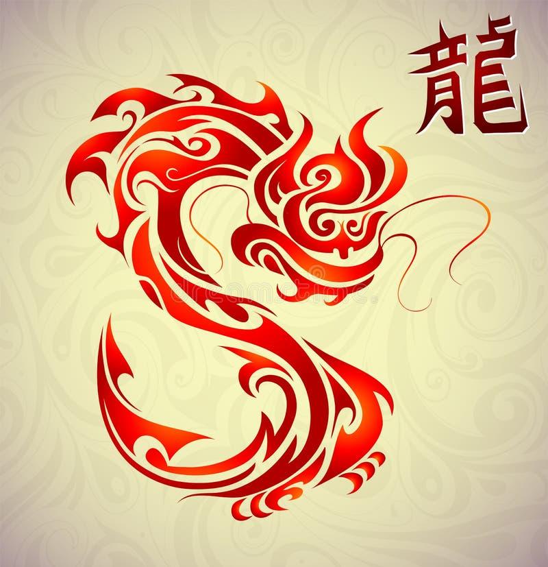 Smoka tatuaż z Chinesse hieroglifem ilustracja wektor