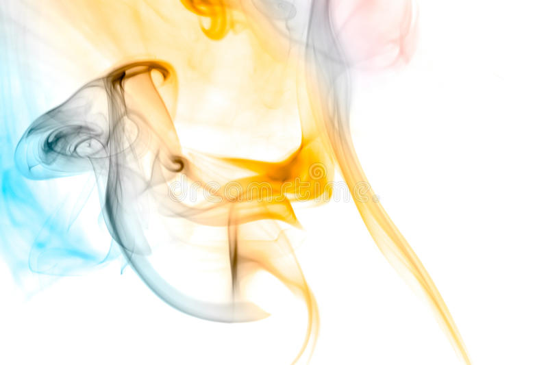 Smoke. Abstract colorful smoke isolated on white background royalty free stock image