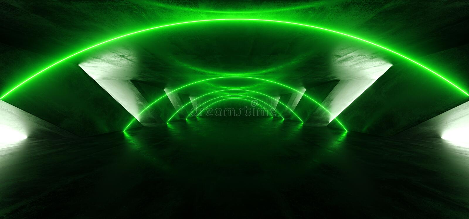 Smoke Arc Entrance Laser Fluorescent Retro Sci Fi Futuristic Neon Glowing Green Cyber Luminous Vibrant Lights In Dark Empty Stage stock illustration