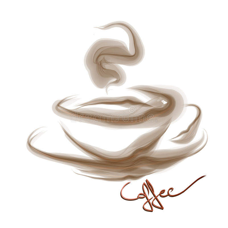 Smoke art coffee. Vector - Smoke art coffee isolated on white background stock illustration