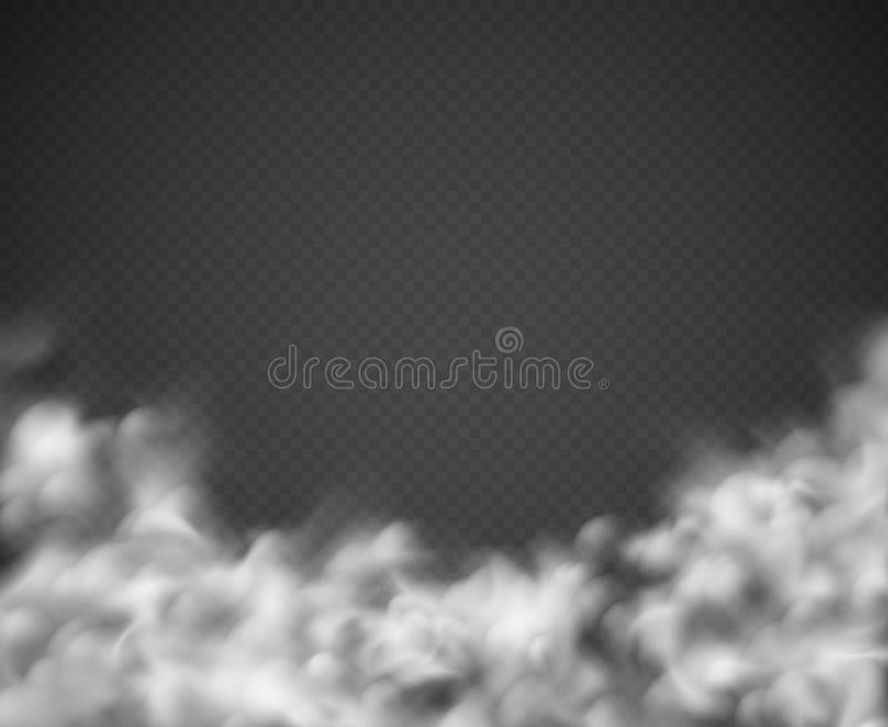 Smoke background. Mist white clouds smoking spooky dusty fog condensation transparent texture light isolated on black stock illustration