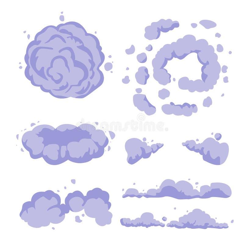 Smoke or cartoon dust. Set vector flat vector. Smoke or cartoon dust. Set vector flat stock illustration
