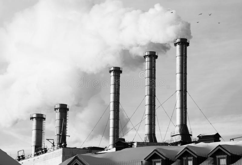 Smoke from chimneys poison atmosphere closeup background royalty free stock photography