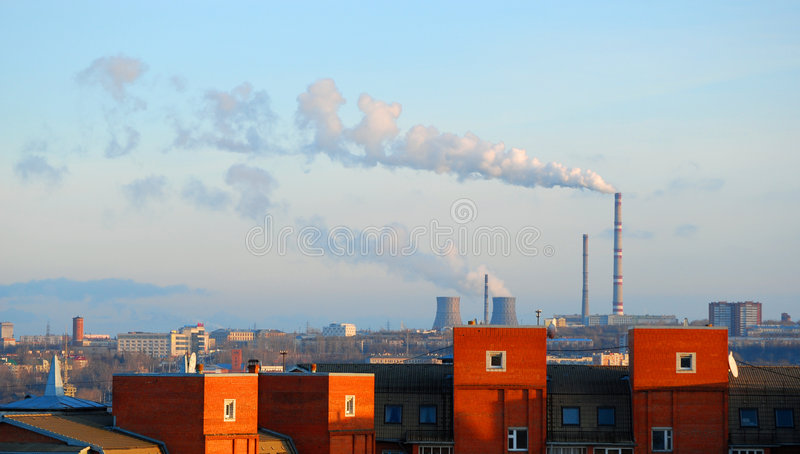 Smoke in the city royalty free stock photos