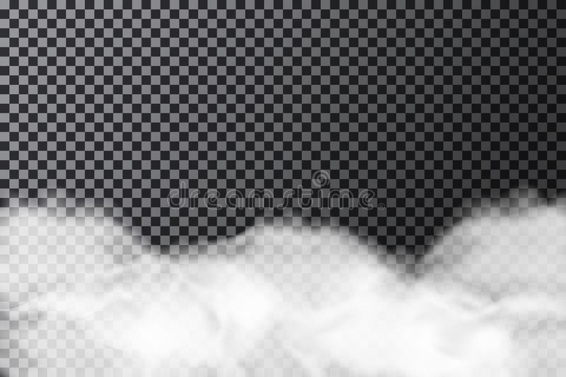 Smoke cloud on transparent background. Realistic fog or mist texture isolated on background stock illustration
