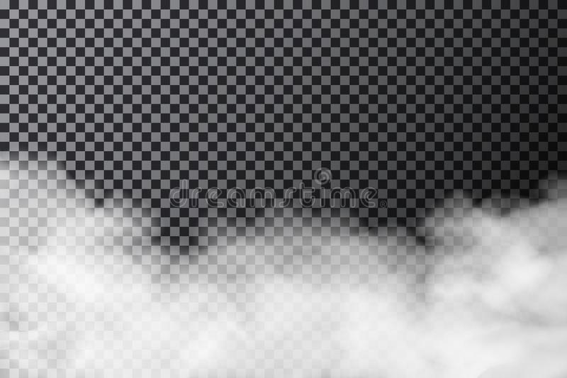 Smoke cloud on transparent background. Realistic fog or mist texture isolated on background. Vector vector illustration