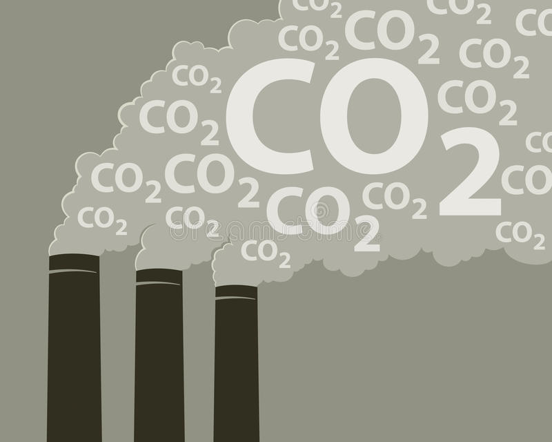 Smoke with CO2. An illustration of smoke stacks burning fossil fuels royalty free illustration