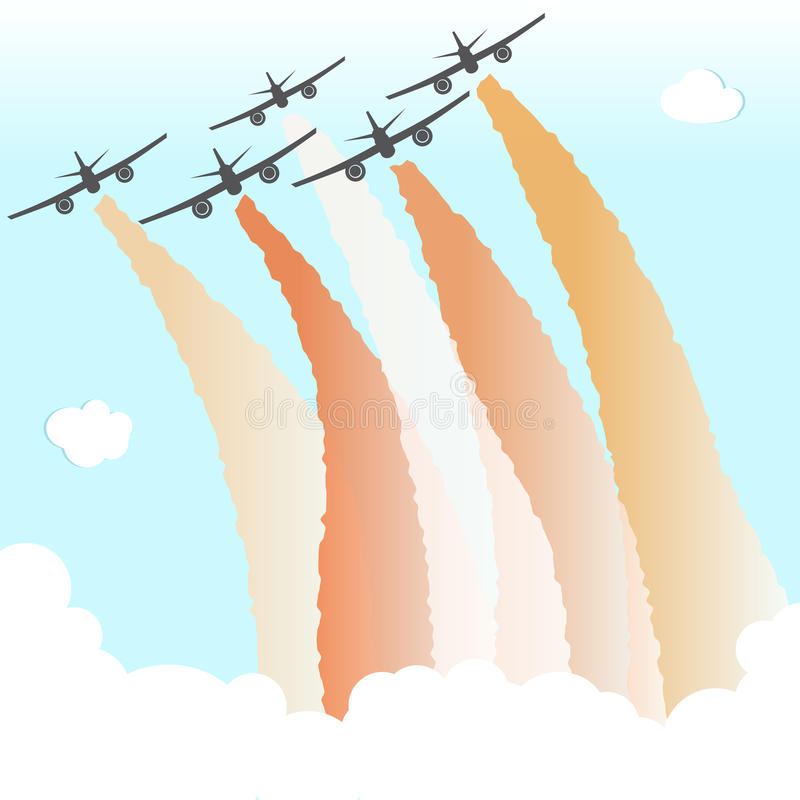 Smoke Color Sky Plane Parade Group Airplane Fly Peace Joy Vector Illustration royalty free illustration