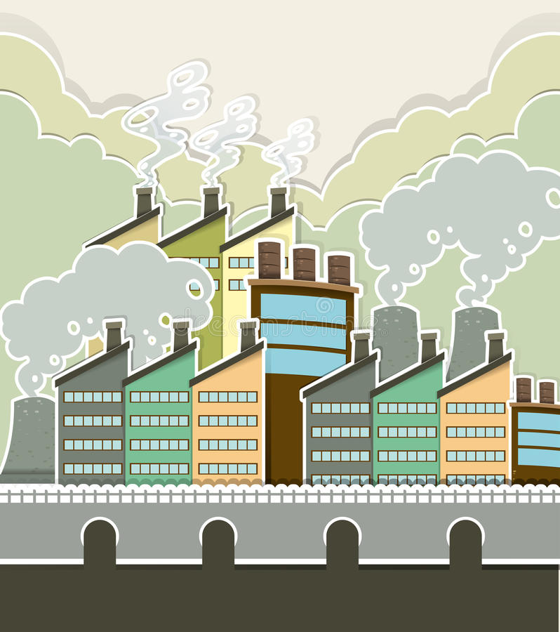Smoke coming out of factory. Illustration stock illustration