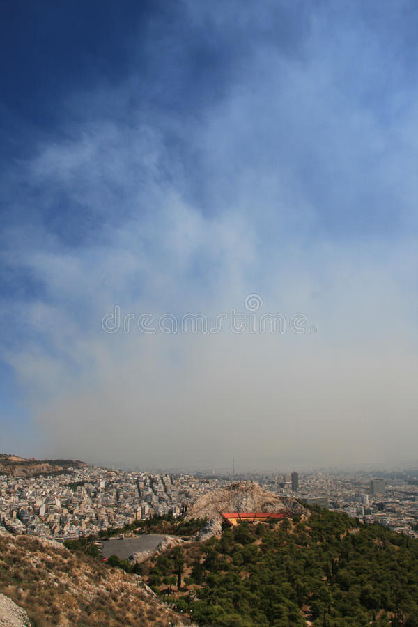 Smoke covers the city of Athens Greece