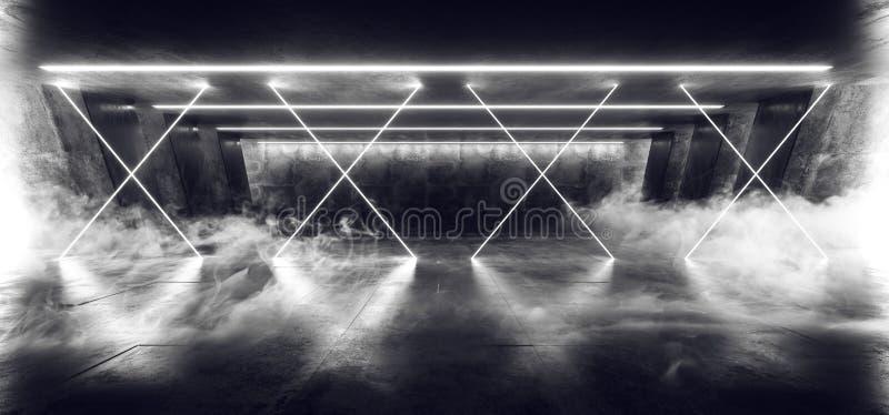 Smoke Cross Laser Fluorescent Retro Sci Fi Futuristic Neon Glowing White Cyber Luminous Lights In Dark Empty Stage Show. Underground Garage Room Hall Tunnel vector illustration