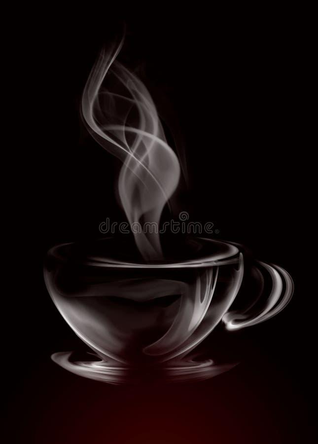 Smoke Cup of coffee. Artistic Illustration Smoke Cup Of Coffee on black