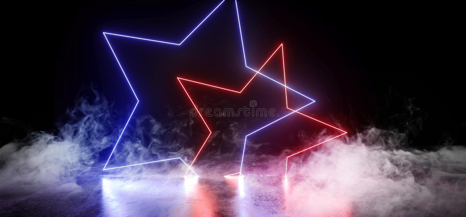 Smoke Dark Empty Black Star Shaped Neon Glowing Laser Fluorescent Virtual Reality Blue Purple Vibrant Lights On Grunge Concrete royalty free illustration