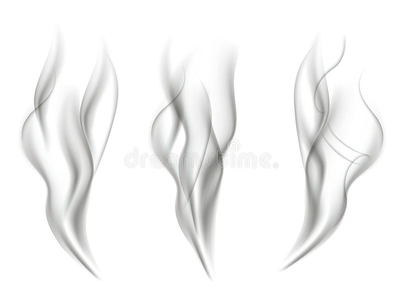 Smoke effects isolated on white background. Vector smoke effect set. vector illustration