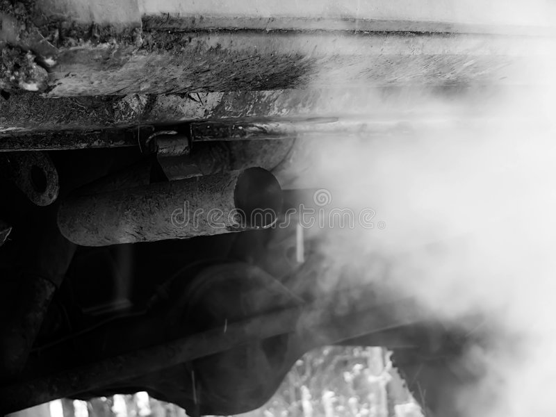Smoke emission. Emission of gases from an exhaust pipe of the car royalty free stock images