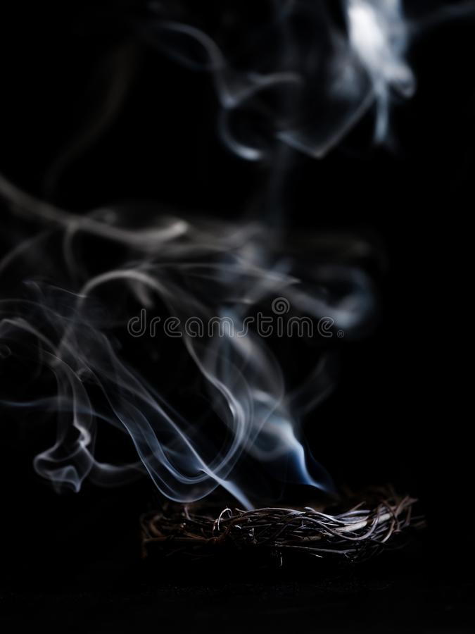 Smoldering Nest. Smoke from an extinguished fire in a nest stock images